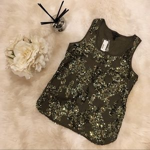 J. Crew Olive Green Sequin Tank Top. NWT.